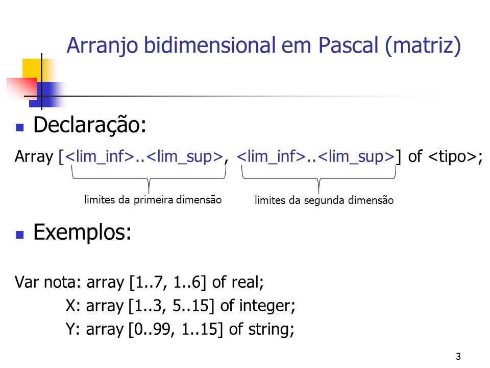 Arranjo bidimensional em Pascal (matriz)