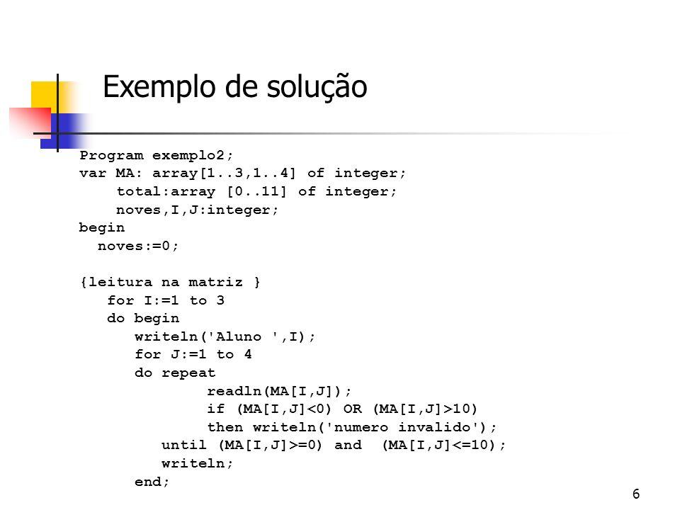 Exemplo de solução Program exemplo2;