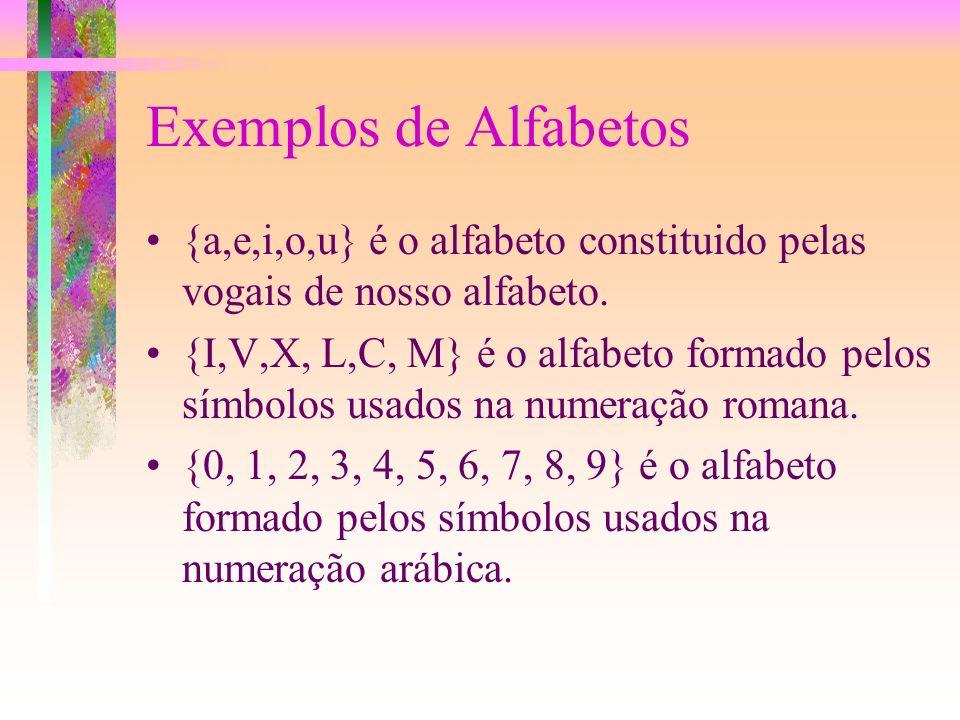 Exemplos de Alfabetos{a,e,i,o,u} é o alfabeto constituido pelas vogais de nosso alfabeto.