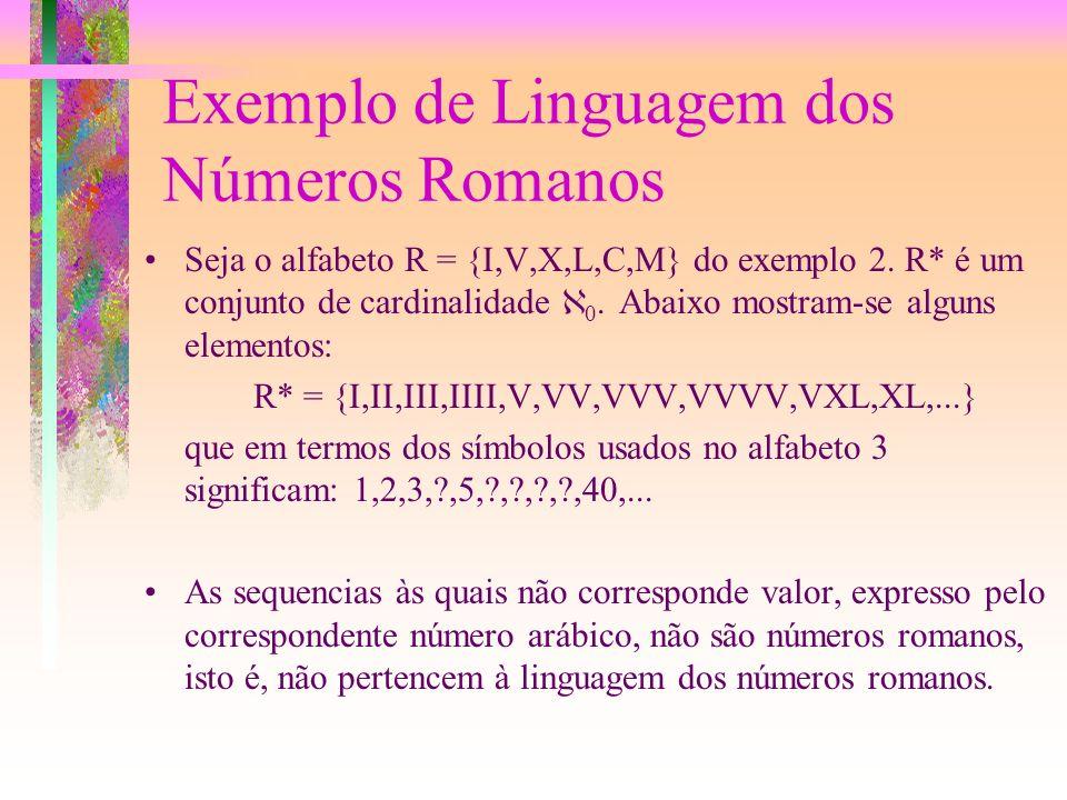 Exemplo de Linguagem dos Números Romanos