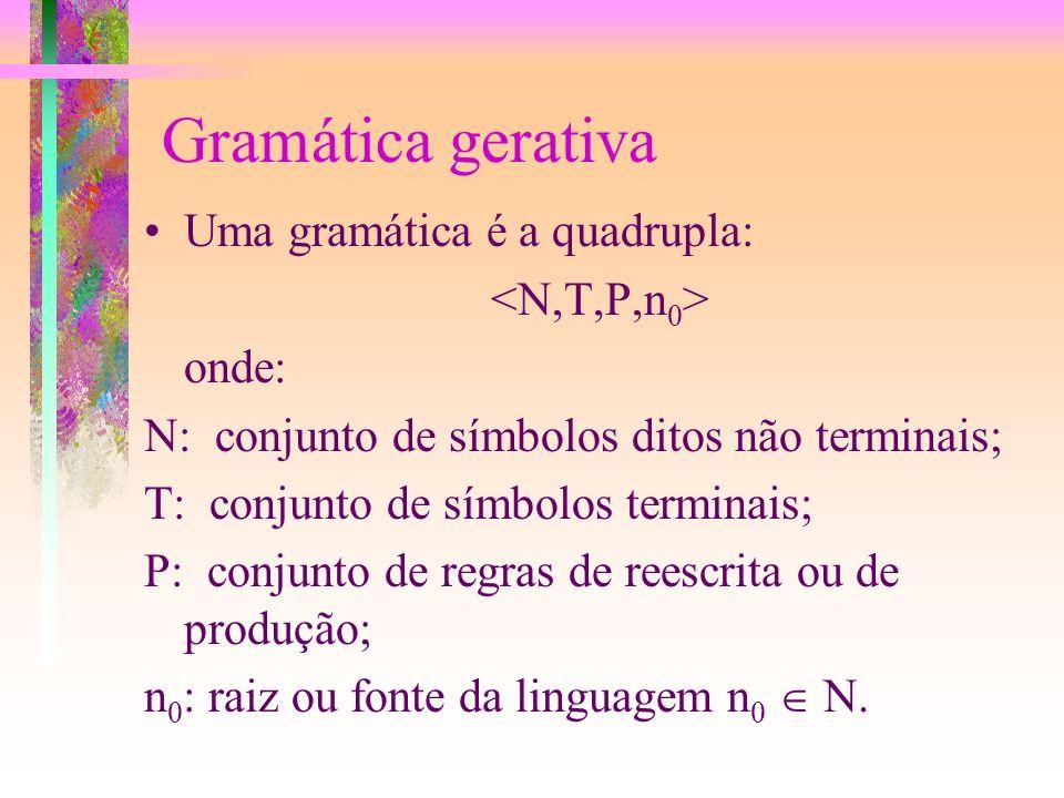 Gramática gerativa Uma gramática é a quadrupla: <N,T,P,n0> onde: