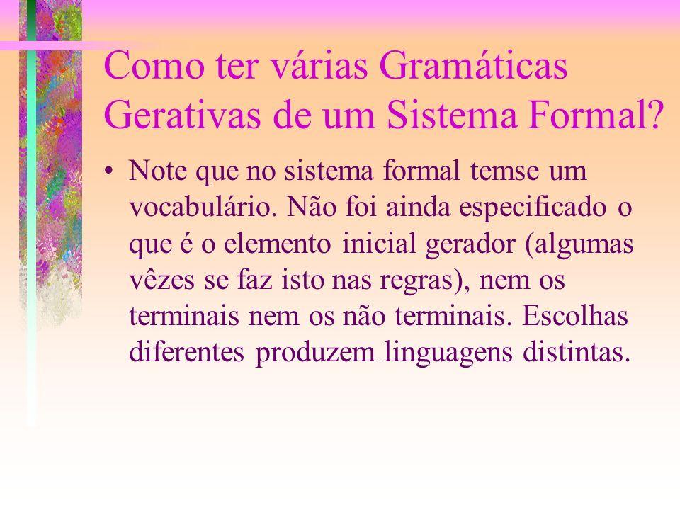 Como ter várias Gramáticas Gerativas de um Sistema Formal