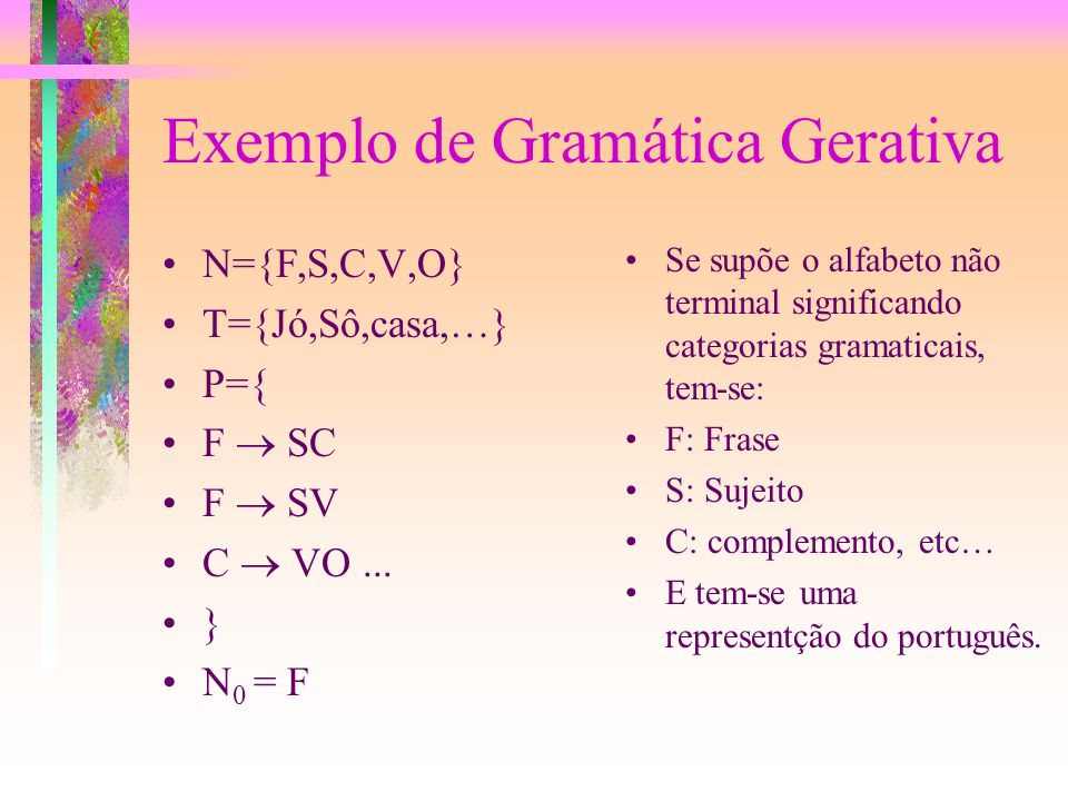 Exemplo de Gramática Gerativa