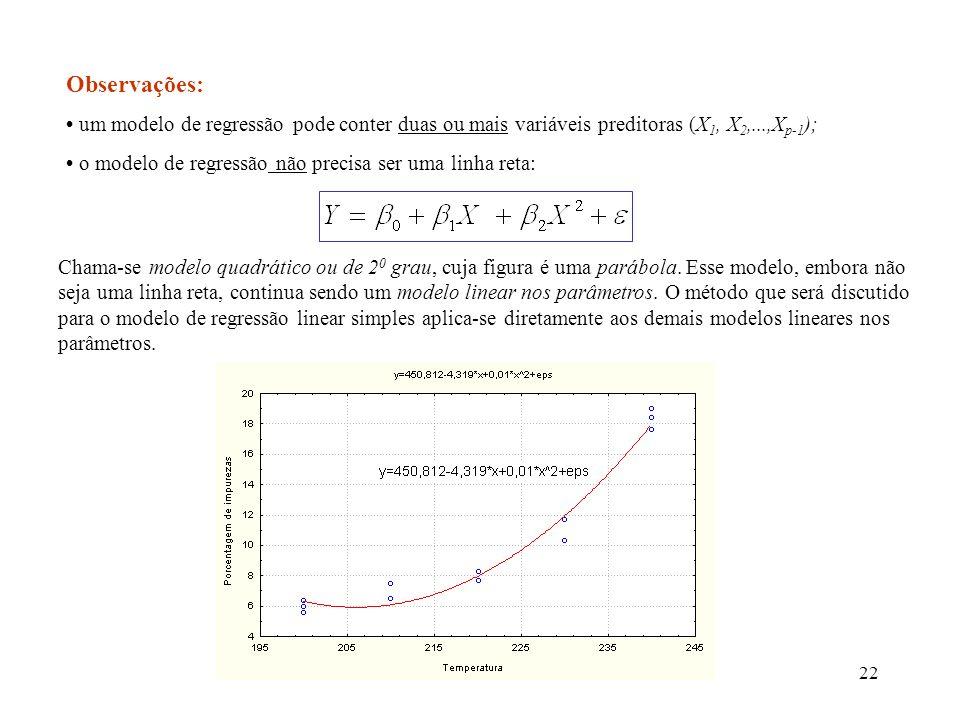 Observações:• um modelo de regressão pode conter duas ou mais variáveis preditoras (X1, X2,...,Xp-1);