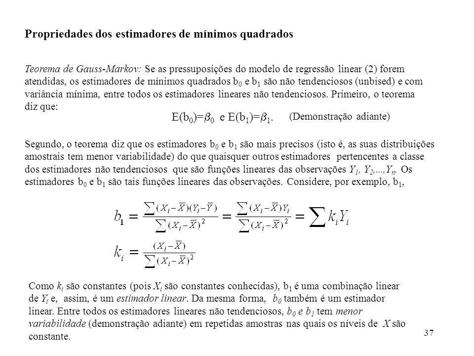 Propriedades dos estimadores de mínimos quadrados