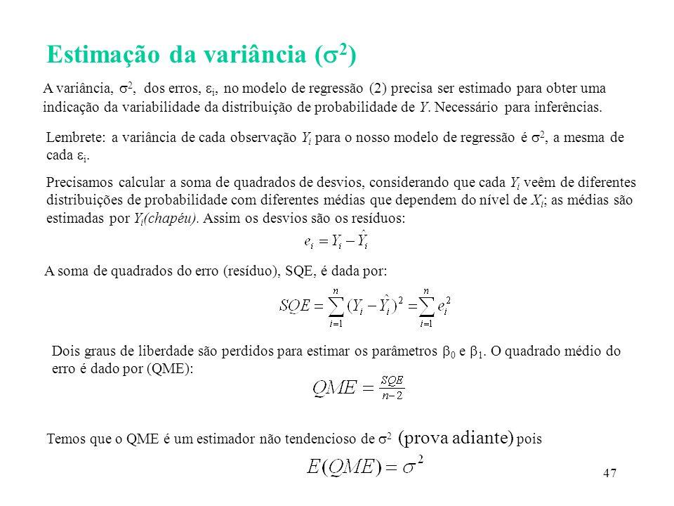 Estimação da variância (2)