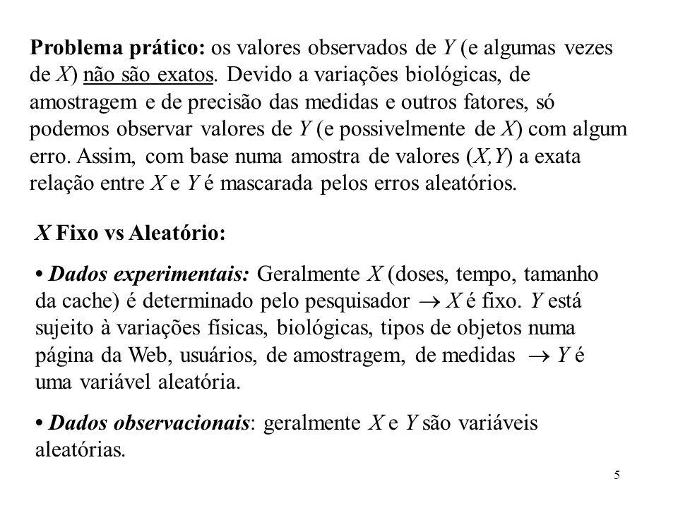 Problema prático: os valores observados de Y (e algumas vezes de X) não são exatos. Devido a variações biológicas, de amostragem e de precisão das medidas e outros fatores, só podemos observar valores de Y (e possivelmente de X) com algum erro. Assim, com base numa amostra de valores (X,Y) a exata relação entre X e Y é mascarada pelos erros aleatórios.