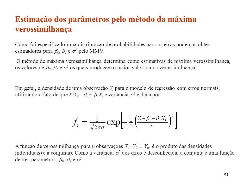 Estimação dos parâmetros pelo método da máxima verossimilhança