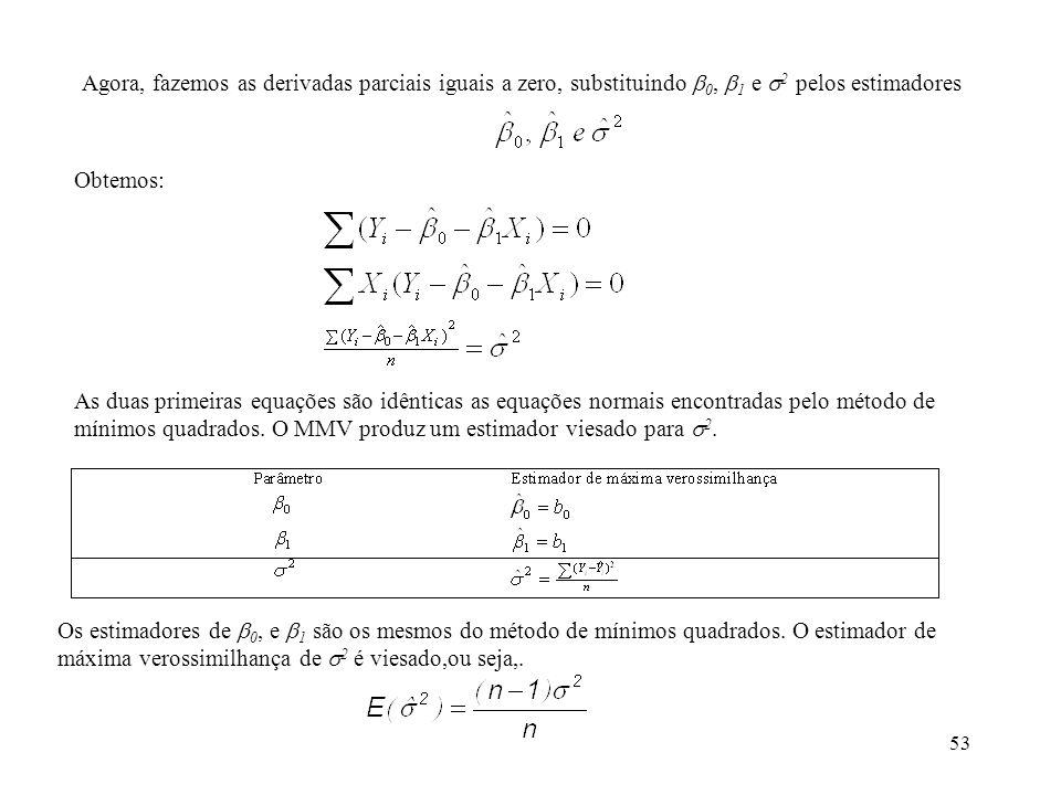 Agora, fazemos as derivadas parciais iguais a zero, substituindo 0, 1 e 2 pelos estimadores