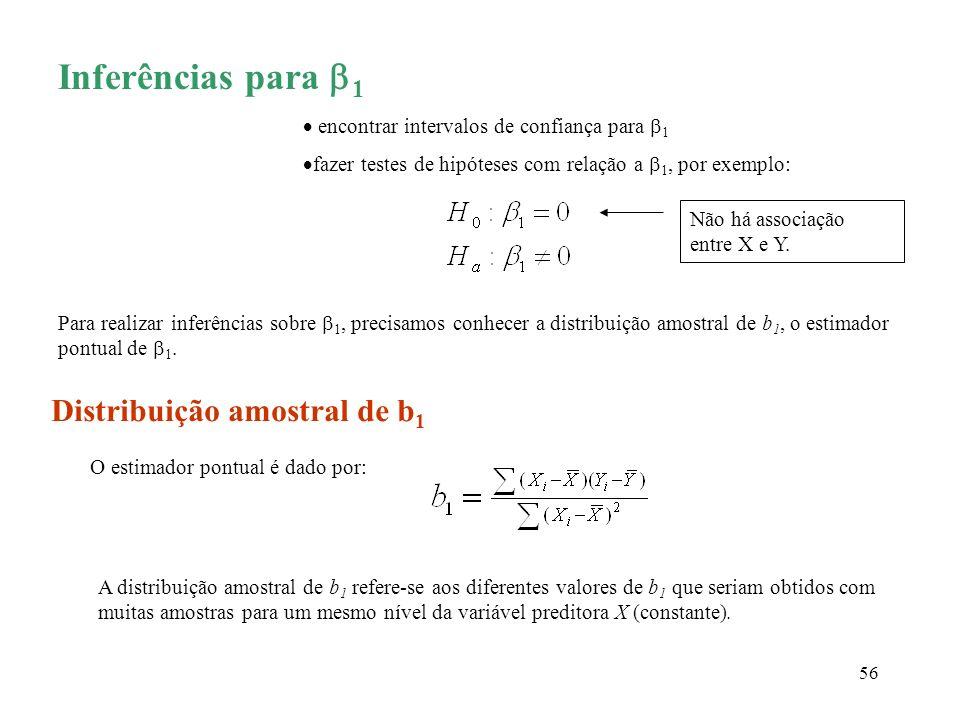 Inferências para 1 Distribuição amostral de b1