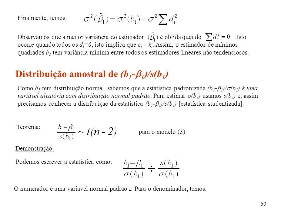 Distribuição amostral de (b1-1)/s(b1)