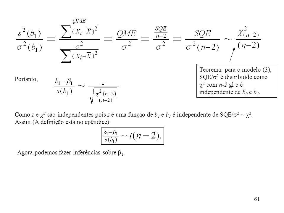 Teorema: para o modelo (3), SQE/2 é distribuído como 2 com n-2 gl e é independente de b0 e b1.