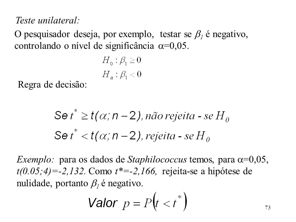 Teste unilateral: O pesquisador deseja, por exemplo, testar se 1 é negativo, controlando o nível de significância =0,05.