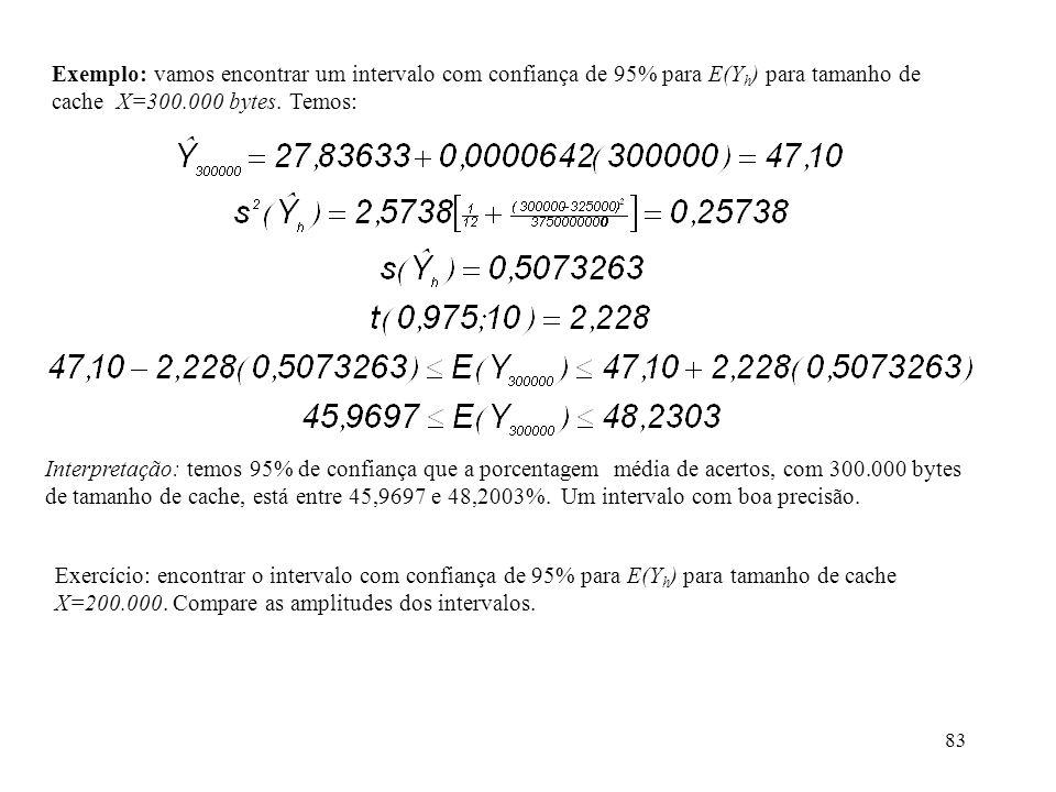 Exemplo: vamos encontrar um intervalo com confiança de 95% para E(Yh) para tamanho de cache X=300.000 bytes. Temos: