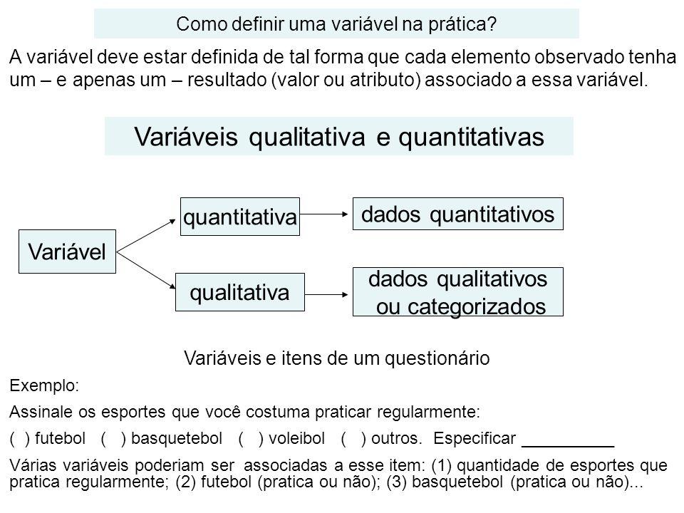 Variáveis qualitativa e quantitativas