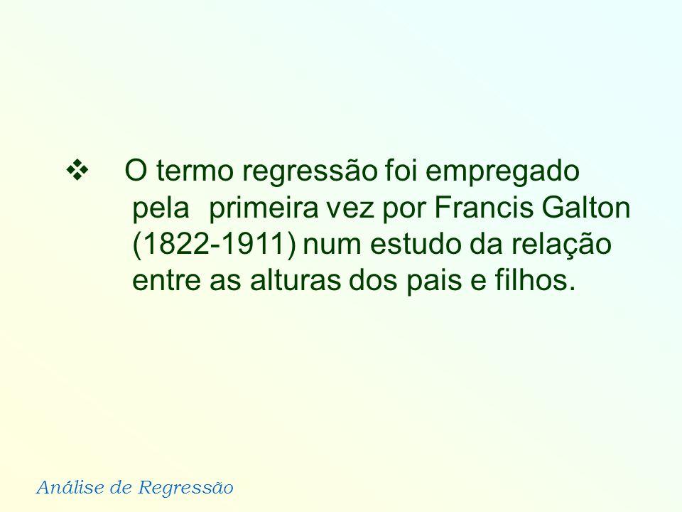 O termo regressão foi empregado. pela. primeira vez por Francis Galton