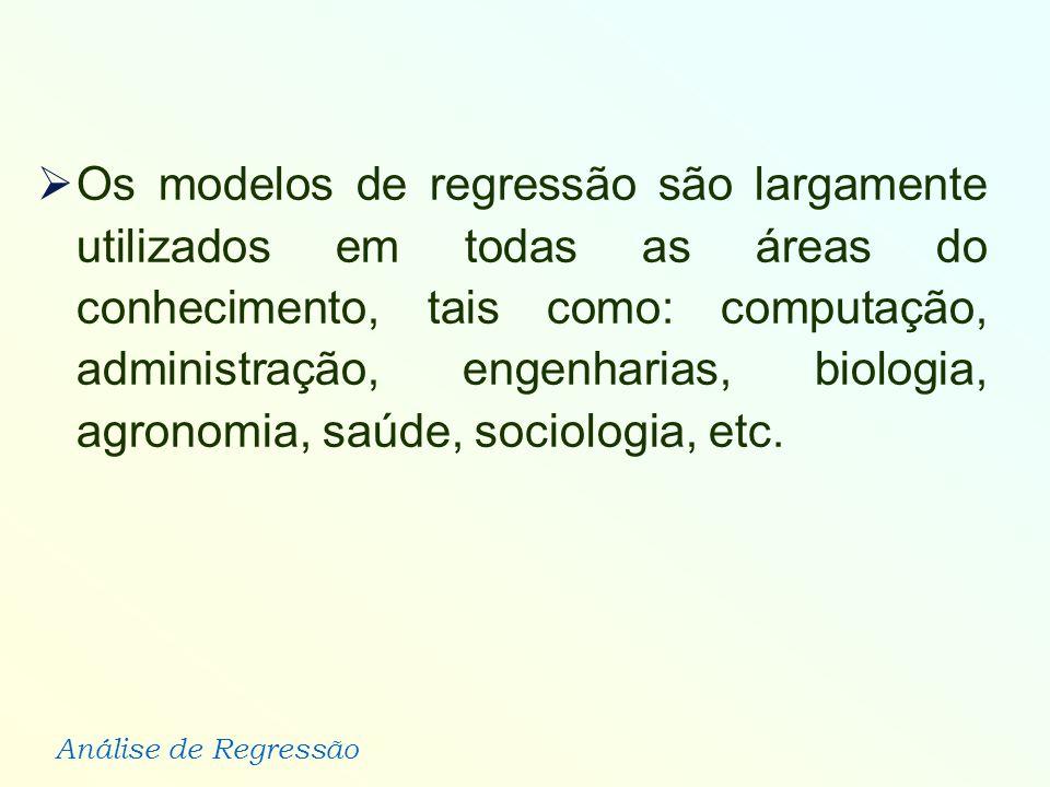 Os modelos de regressão são largamente utilizados em todas as áreas do conhecimento, tais como: computação, administração, engenharias, biologia, agronomia, saúde, sociologia, etc.