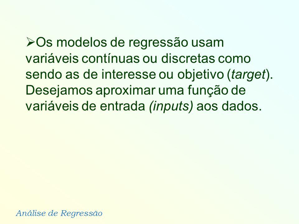Os modelos de regressão usam variáveis contínuas ou discretas como sendo as de interesse ou objetivo (target).
