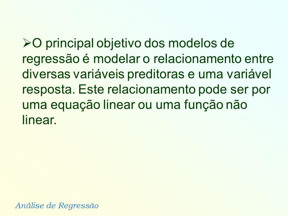 O principal objetivo dos modelos de regressão é modelar o relacionamento entre diversas variáveis preditoras e uma variável resposta.
