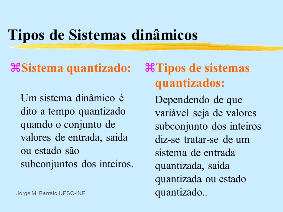 Tipos de Sistemas dinâmicos