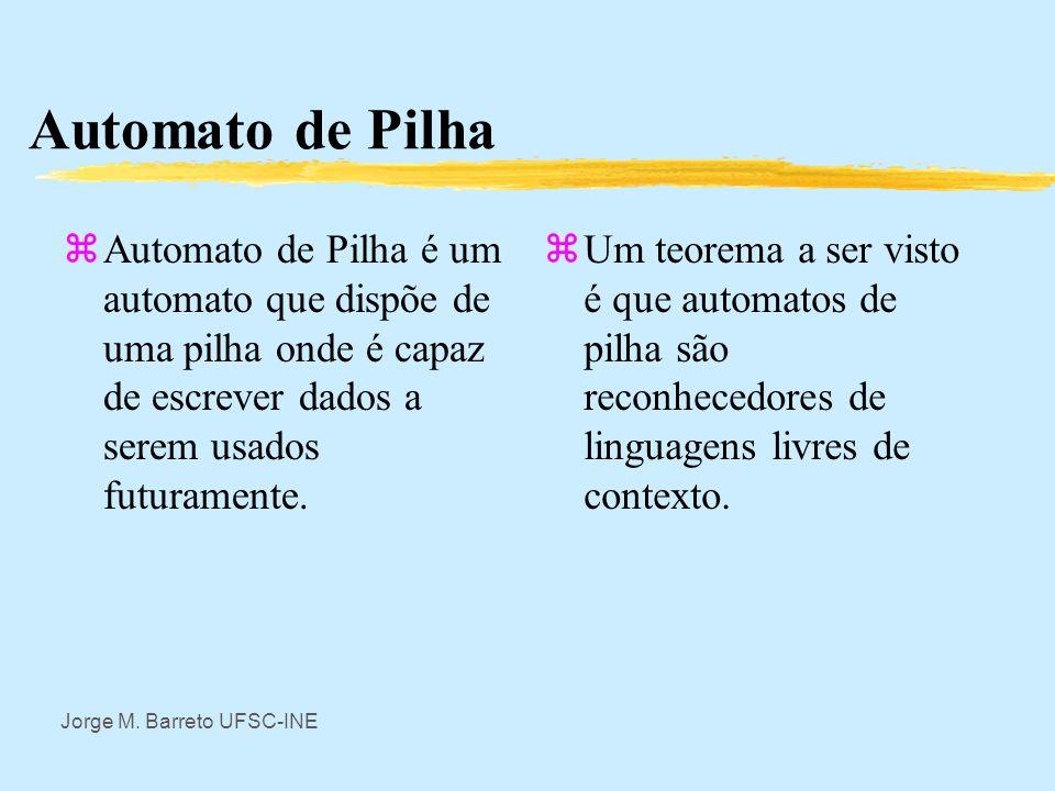 Automato de Pilha Automato de Pilha é um automato que dispõe de uma pilha onde é capaz de escrever dados a serem usados futuramente.