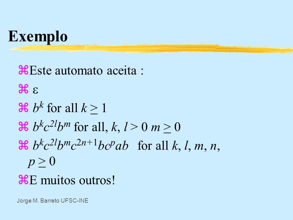 Exemplo Este automato aceita :  bk for all k > 1