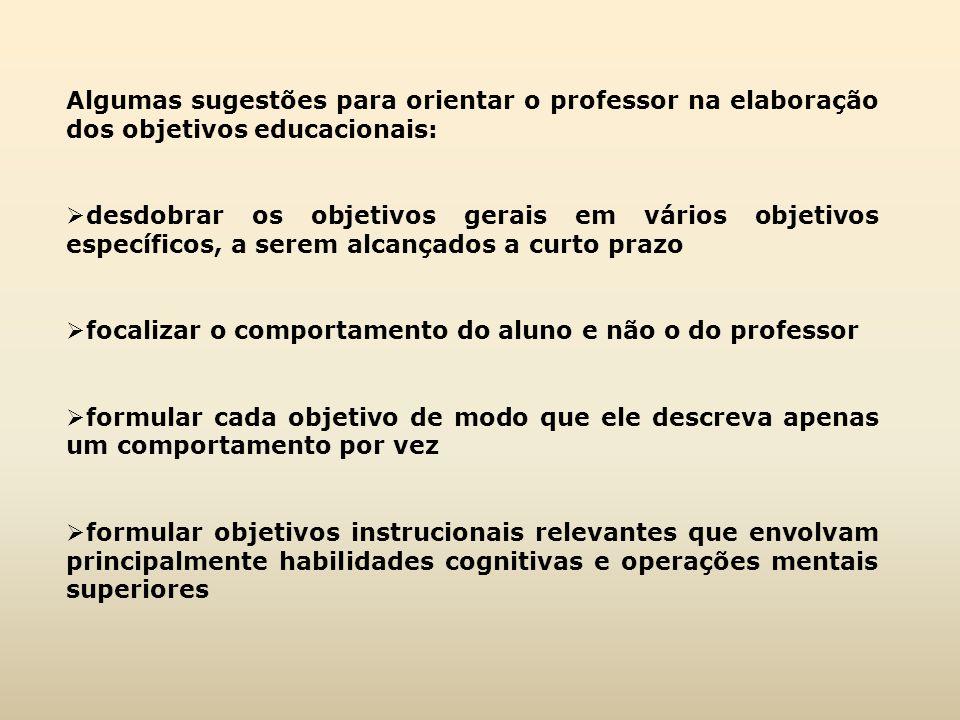 Algumas sugestões para orientar o professor na elaboração dos objetivos educacionais: