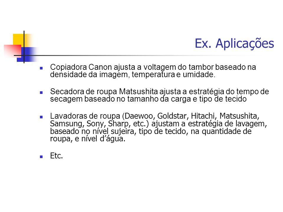 Ex. Aplicações Copiadora Canon ajusta a voltagem do tambor baseado na densidade da imagem, temperatura e umidade.