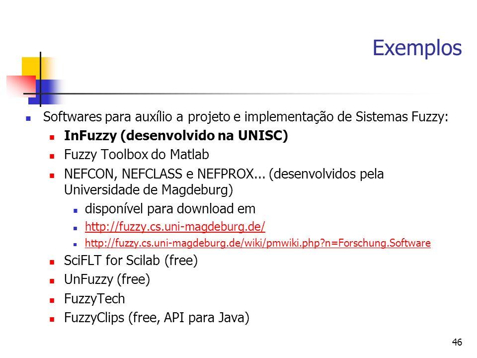 Exemplos Softwares para auxílio a projeto e implementação de Sistemas Fuzzy: InFuzzy (desenvolvido na UNISC)