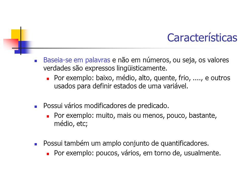 Características Baseia-se em palavras e não em números, ou seja, os valores verdades são expressos lingüisticamente.