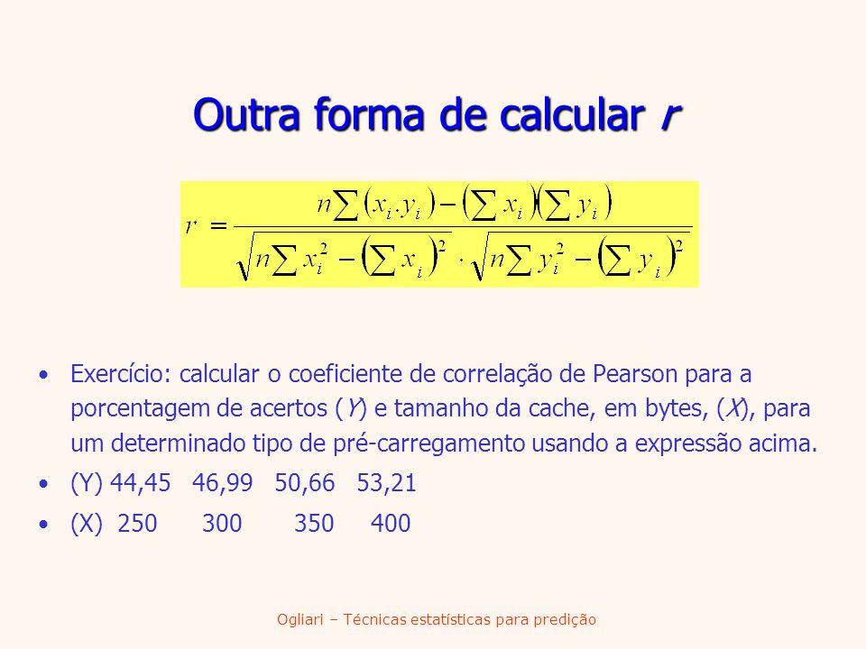 Outra forma de calcular r
