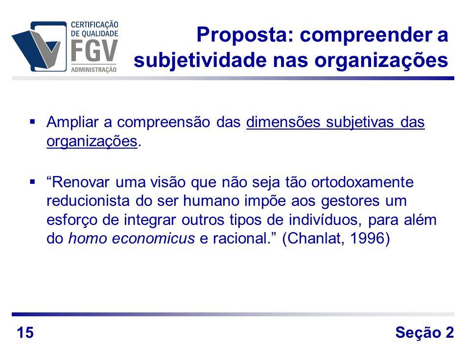Proposta: compreender a subjetividade nas organizações