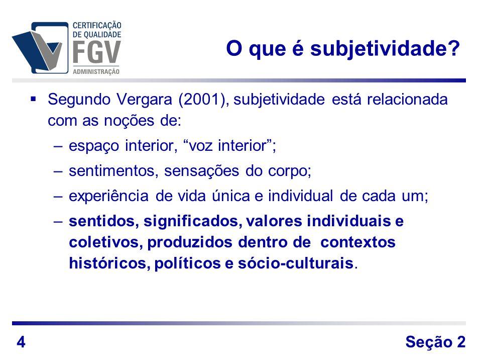 O que é subjetividade Segundo Vergara (2001), subjetividade está relacionada com as noções de: espaço interior, voz interior ;