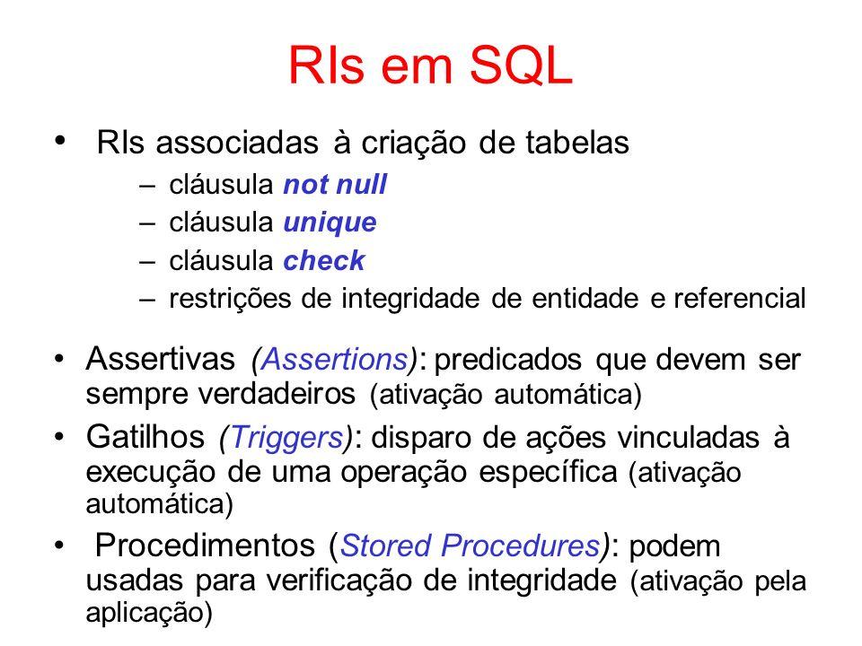 RIs em SQL RIs associadas à criação de tabelas
