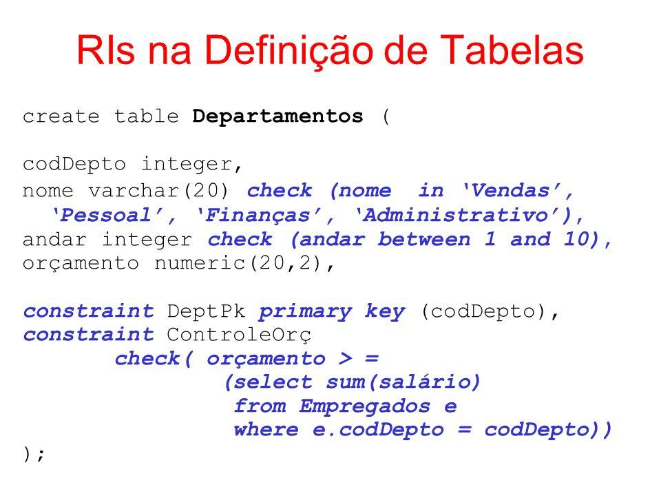 RIs na Definição de Tabelas