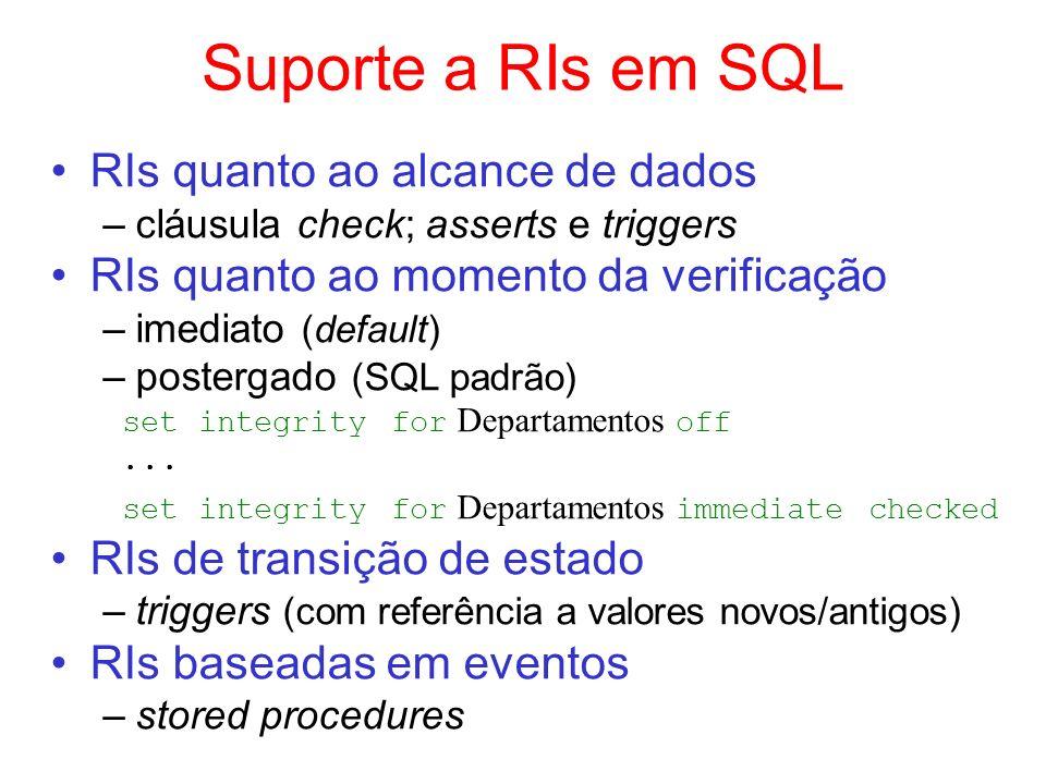 Suporte a RIs em SQL RIs quanto ao alcance de dados