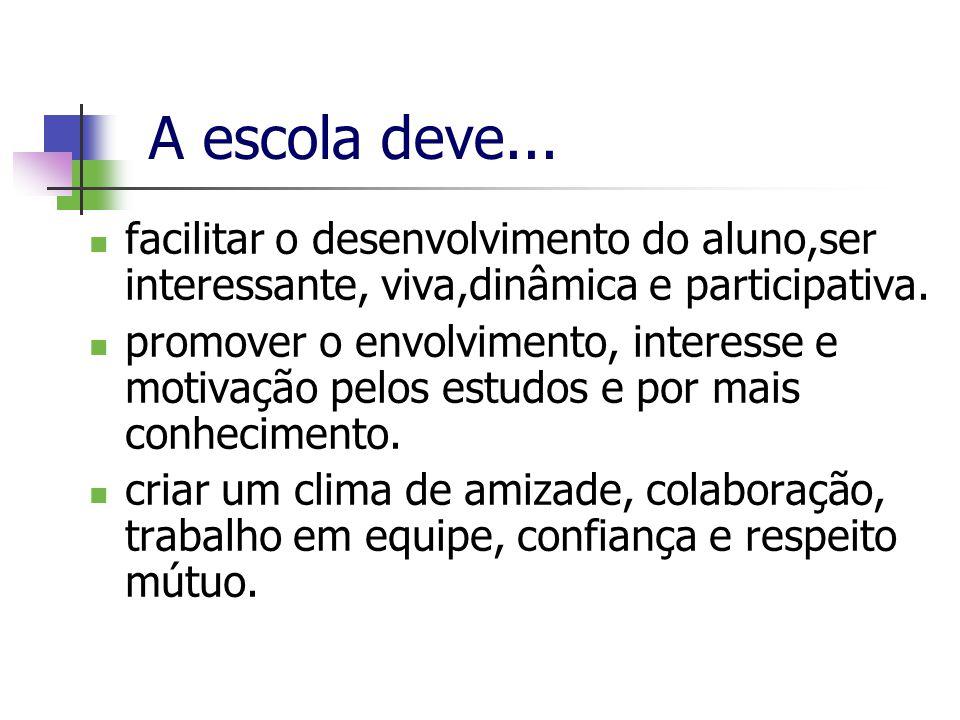 A escola deve... facilitar o desenvolvimento do aluno,ser interessante, viva,dinâmica e participativa.