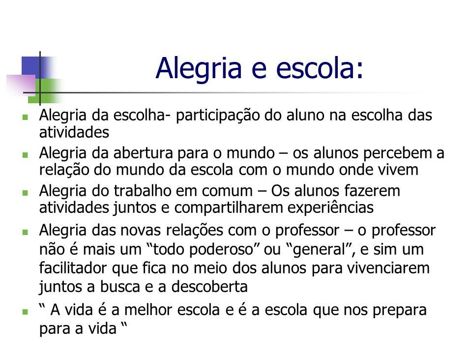 Alegria e escola: Alegria da escolha- participação do aluno na escolha das atividades.