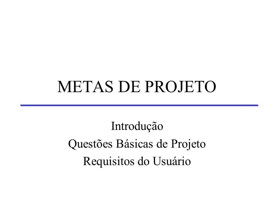 Introdução Questões Básicas de Projeto Requisitos do Usuário