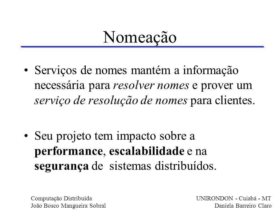 Nomeação Serviços de nomes mantém a informação necessária para resolver nomes e prover um serviço de resolução de nomes para clientes.