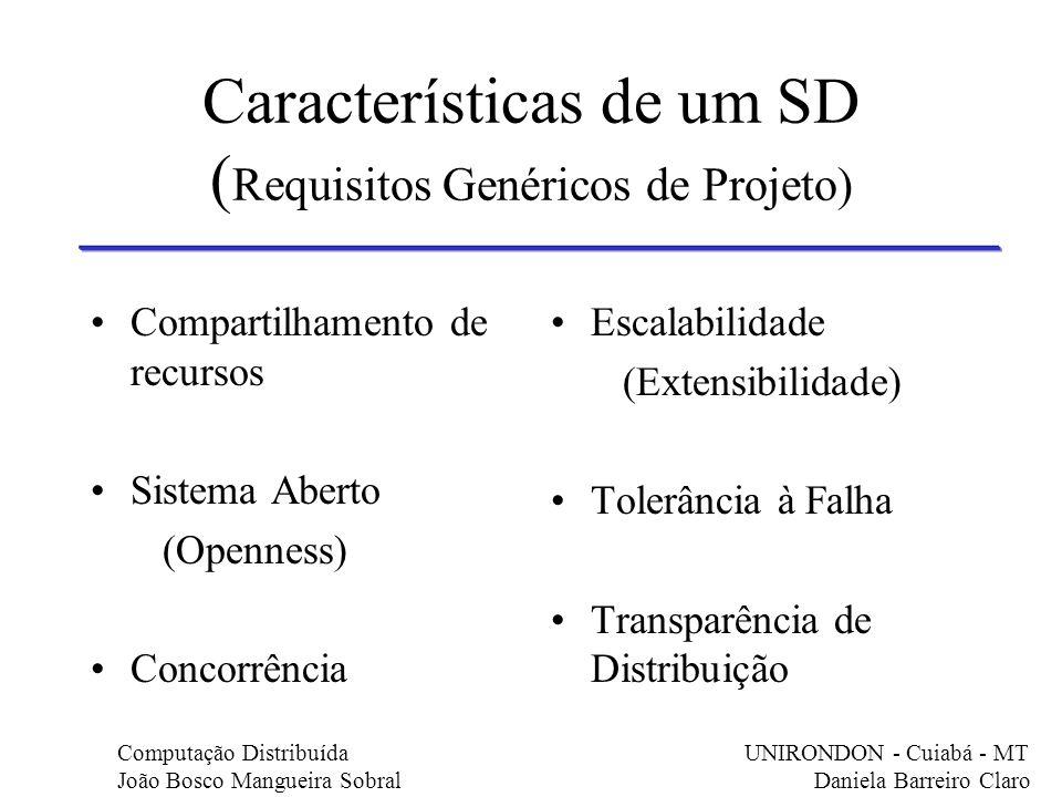 Características de um SD (Requisitos Genéricos de Projeto)