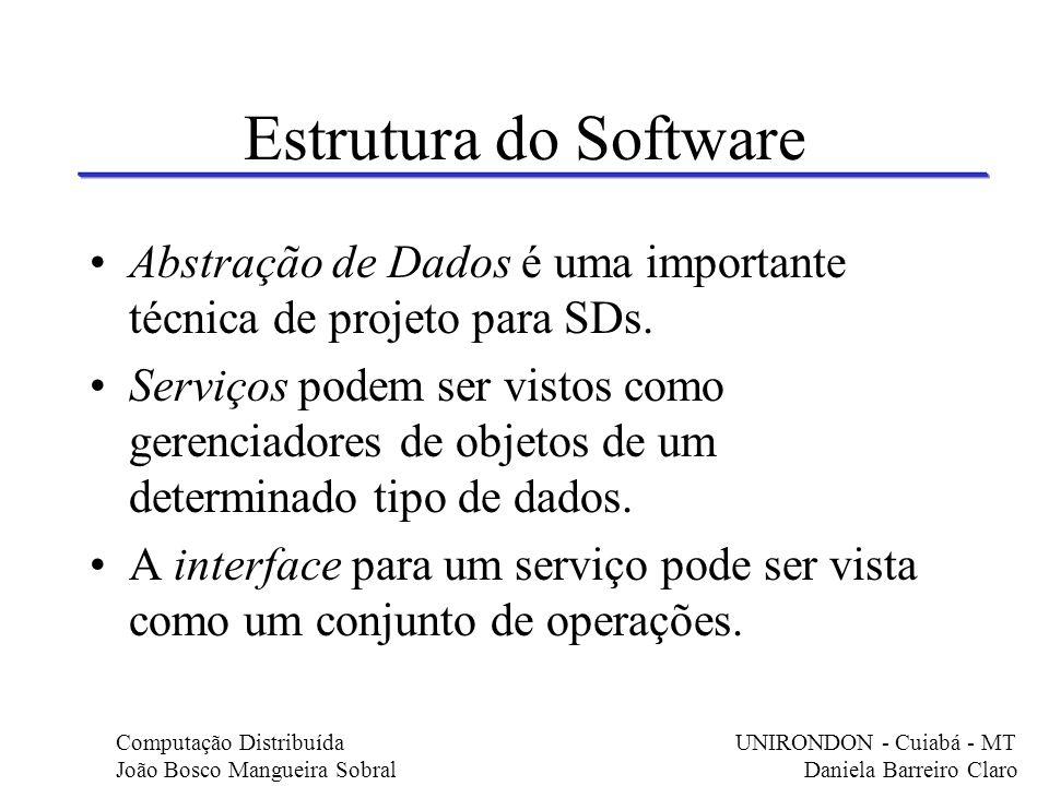 Estrutura do Software Abstração de Dados é uma importante técnica de projeto para SDs.