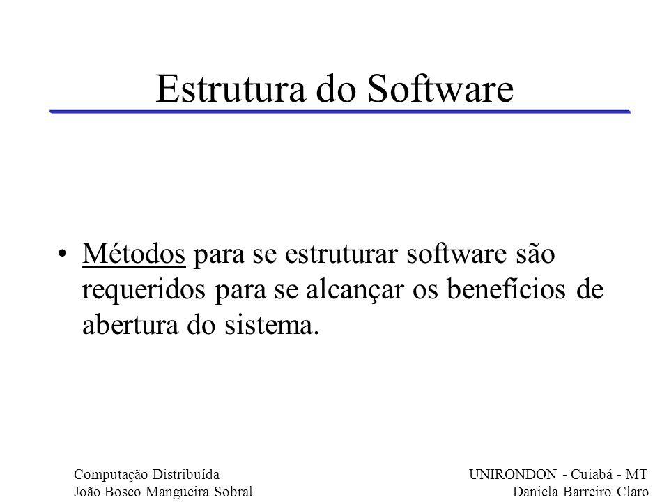 Estrutura do Software Métodos para se estruturar software são requeridos para se alcançar os benefícios de abertura do sistema.
