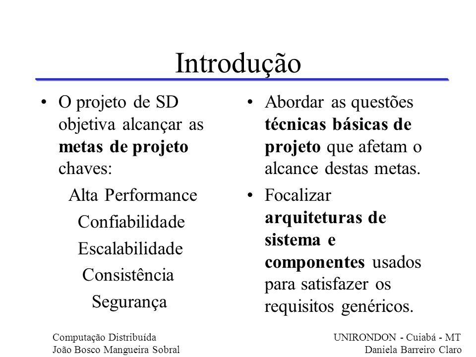 Introdução O projeto de SD objetiva alcançar as metas de projeto chaves: Alta Performance. Confiabilidade.