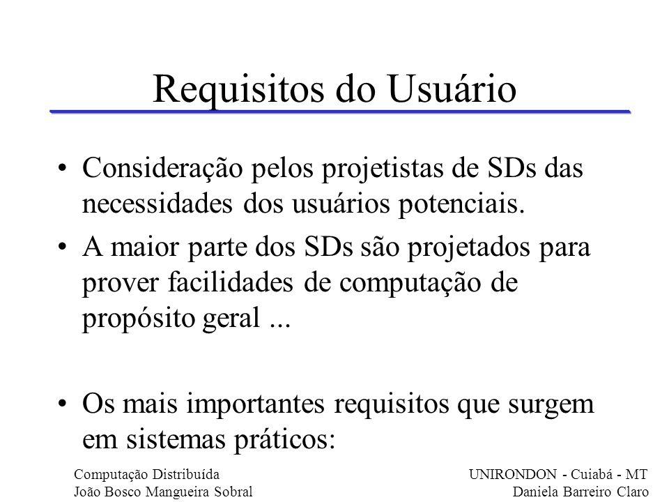 Requisitos do Usuário Consideração pelos projetistas de SDs das necessidades dos usuários potenciais.