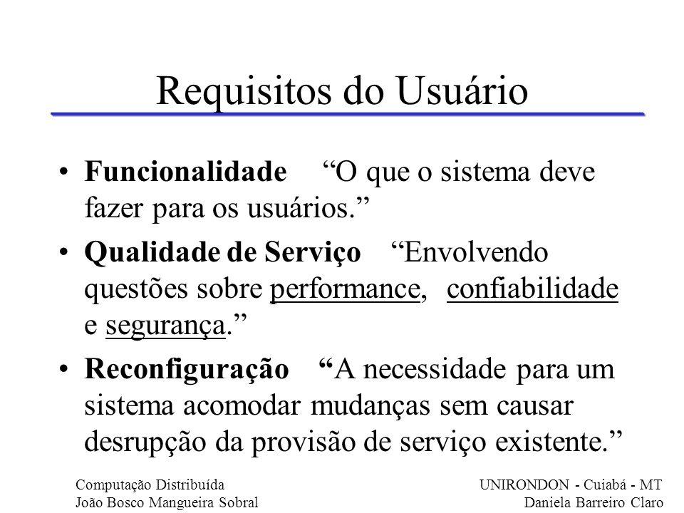 Requisitos do Usuário Funcionalidade O que o sistema deve fazer para os usuários.