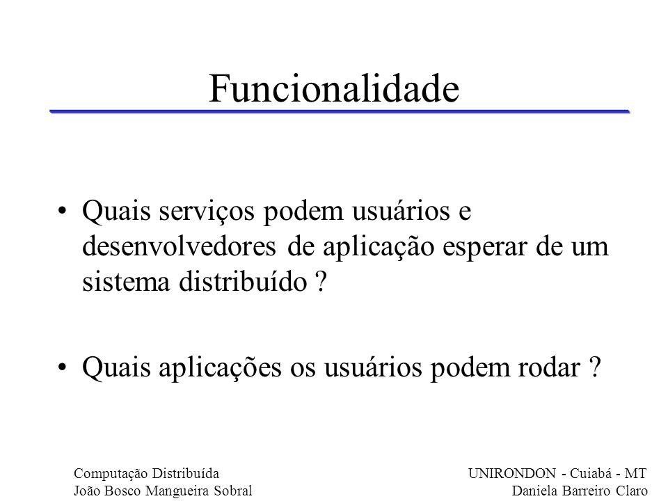 Funcionalidade Quais serviços podem usuários e desenvolvedores de aplicação esperar de um sistema distribuído