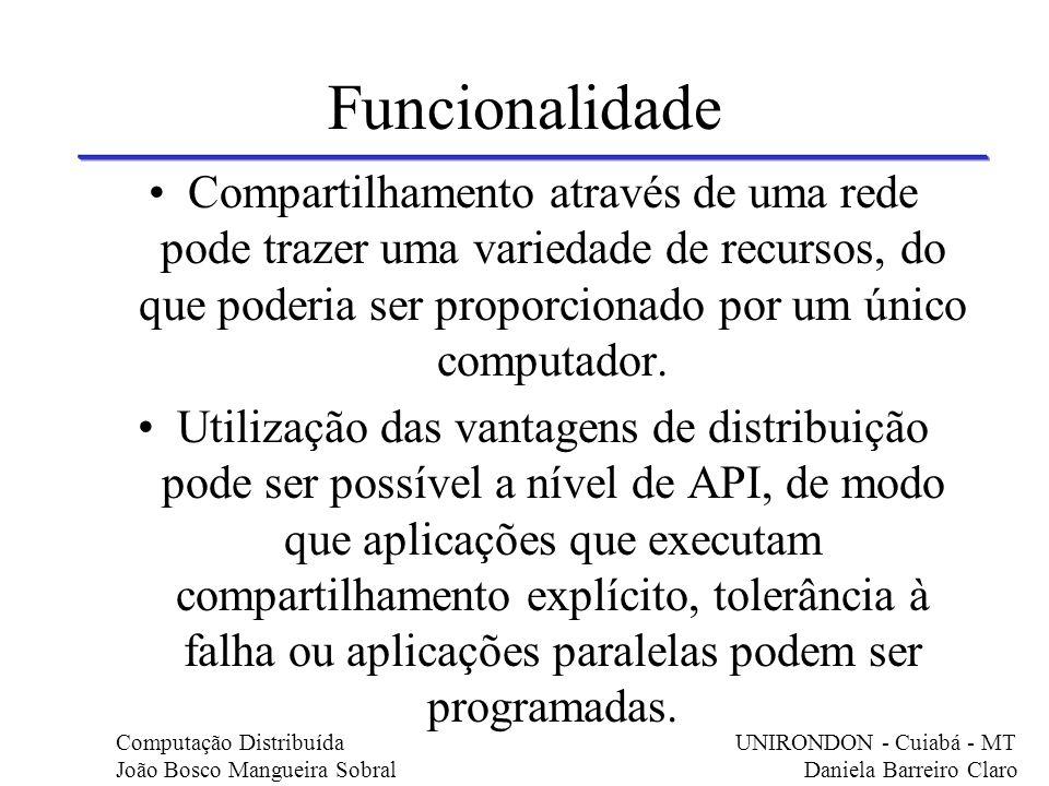 Funcionalidade Compartilhamento através de uma rede pode trazer uma variedade de recursos, do que poderia ser proporcionado por um único computador.