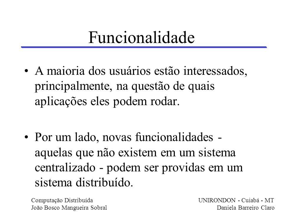 Funcionalidade A maioria dos usuários estão interessados, principalmente, na questão de quais aplicações eles podem rodar.