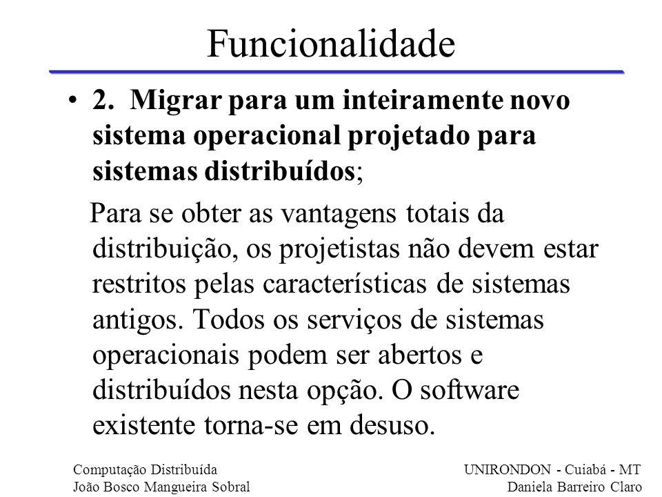 Funcionalidade 2. Migrar para um inteiramente novo sistema operacional projetado para sistemas distribuídos;